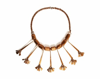 Copper FRINGE Fan Bib Necklace - Vintage Navajo Native American Tribal Jewelry - Unique Southwestern HAND CRAFTED Beaded Statement Necklace