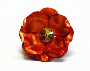 Large Paprika Orange Enamel Rose Brooch with AB Crystal Rivoli Stone Center in Flower Petals - Vintage 50's Figural Metallic Costume Jewelry