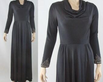 SALE Vintage Seventies Dress - 1970s Black Gown with Beaded Sleeves - 70s Dan Lee Cowl Neck Long Sleeve Dress - Small