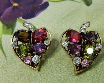 HOLLYCRAFT Colorful Rhinestone Leaf Clip On Earrings    NBR22