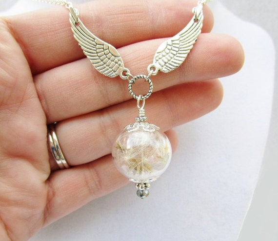 Dandelion Seed Filled Wishing Orb Necklace with Silver Wings, Make A Wish, Fairy Jewelry