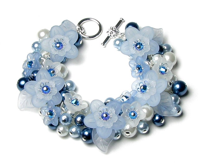 Blue Flower Swarovski Crystal Pearl Cluster Silver Charm Bracelet, Snow White Jewelry, Romantic Wedding Bridal, Gifts For Bridesmaid, Mother