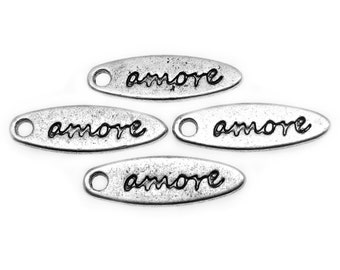 """Silver Charms : 10 Antique Silver """"Amore"""" Love Charms 