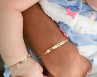 Personalized Baby and Mommy Bracelet • Mom Daughter Bar Bracelet Set • Rose Gold Filled Yellow Gold Filled Sterling Silver Infant Jewelry