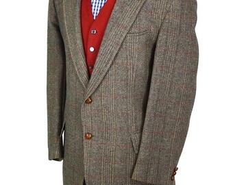 46S Stanley Blacker Classic Windowpane Men's Vintage Preppy Tweed Blazer