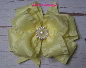 Yellow Double Ruffle Ribbon Bow / Over the Top Hair Bow / Flower Girl / Pageant /  Photo Prop / Infant / Baby / Girl / Toddler / Boutique
