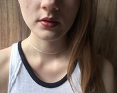 Thin white and gold choker | Dainty choker |  Delicate choker |  Simple choker | Minimalist choker |