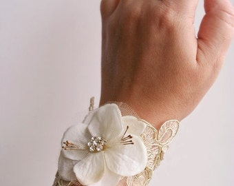 Bridal Flower Wrist Corsage, Wedding Floral Bracelet, Prom Corsage, Wedding Bridal Accessories, Ivory, Gold, Lace, Hydrangea