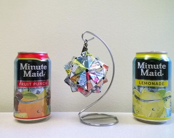Minute Maid Can Origami Ornament, 5 Flavors.  Upcycled Recycled Repurposed Art