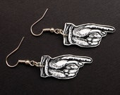 Pointing Finger Earrings - pointing hand jewelry, a pair of manicule earrings