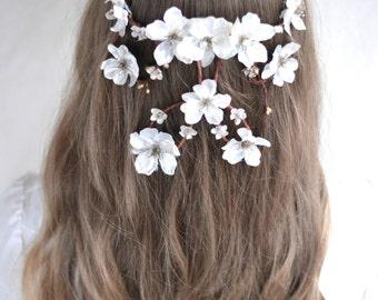Flower head wreath, Cascading flower head piece, Wedding hair accessories, Cascade flower crown, Bridal crown, Flower crown, Festival