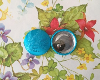Button Earring / Fabric Covered / Aqua Blue / Wholesale Jewelry / Stud Earring / Unique Gift / Bamboo Print / Hypoallergenic Earring