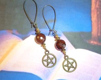 OBSIDIAN EARRINGS, Healing Gemstone Earrings, Wiccan Earrings, Witches Jewelry, Faceted Gemstones, Mahogany Obsidian, Pentacle Earrings