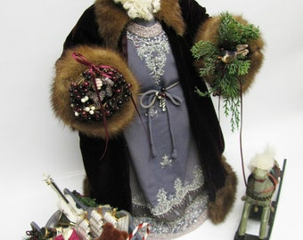 Father Christmas Santa Claus Doll: Burgundy & Blue with Silver Beading - Real Brown Mink Fur ( One of a Kind Handmade Old World Santa Claus)