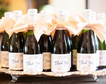 Mini Champagne Labels Wedding Shower Gift Favor Thank You