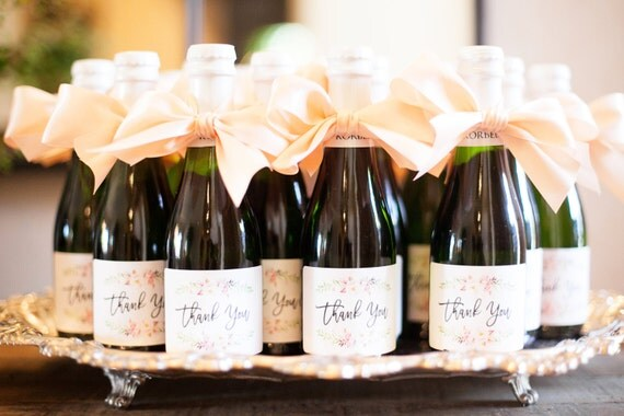 Mini Champagne Labels \\ Wedding Favor \\ Thank You \\ Mini or Regular Size