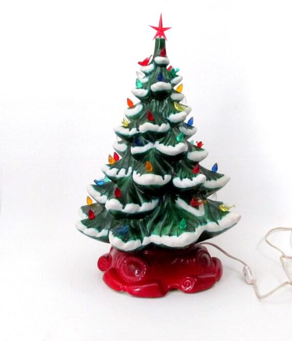 Vintage Ceramic Christmas Tree / Large 16 inch Ceramic Lighted