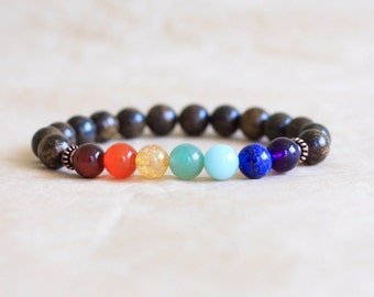 7 Chakra Bracelet, Womens Mens Mala Bracelet, Chakra Mala Beads, Yoga Jewelry, Bronzite Prayer Beads, Energy Jewelry