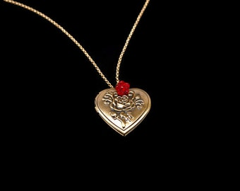 Gold Heart Locket Necklace - Bronze Heart Locket - Red Rose Necklace ~ Necklace For Mom - Red Flower Necklace - Victorian Necklace Red N1303
