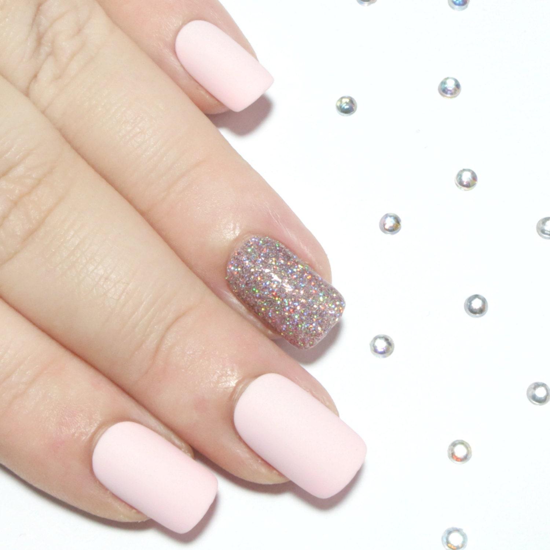 Rose Quartz Nails Short Matte Fake Nails by ...