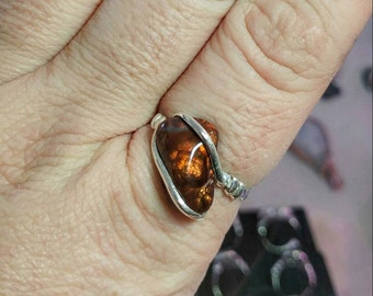 Rare Gemstone Ring | Fire Agate Ring | Handmade Sterling Silver Ring Sz 11 | Mexican Fire Agate Ring | Fire Agate Jewelry | Men's Ring