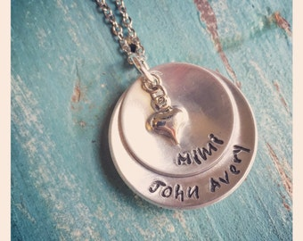 Nana - Grandmother - Mom - Mimi Jewelry - Name necklace - Personalized Hand Stamped Necklace for Grandma, Mom with Heart Chart