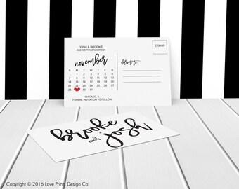 Calendar Save the Date, Brush Script, Double Sided, Save the Date Template, Printable Save the Date Card