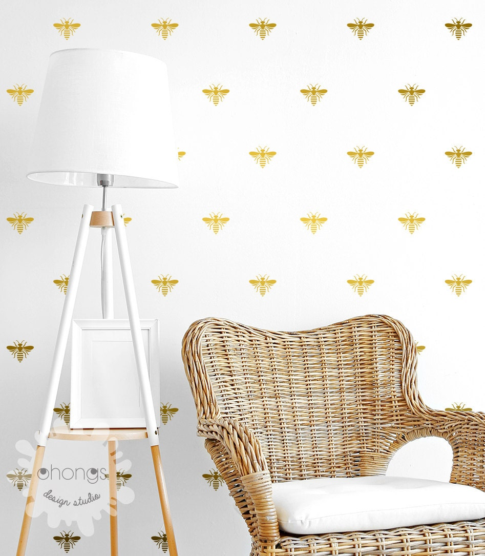 Bee wall decal bumblebee stickers home decor nursery for Bee decorations for the home