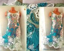 Hippie wedding dress Floral dress crochet Long boho dresses green and White dress Bohemian bridesmaid dress Beach party Irish crochet dress