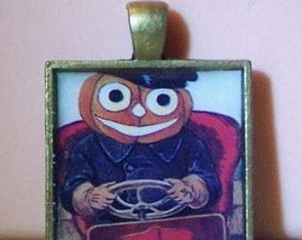 Vintage Halloween postcard anthropomorphic pumpkin JOL bezel necklace pendant
