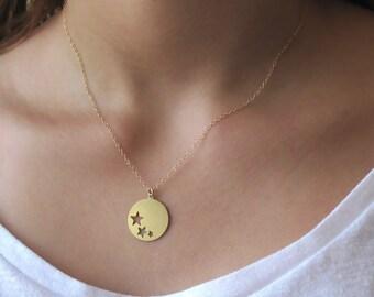 Gold Stars Necklace - 14K Gold Filled Stars Necklace -  Bridesmaids Stars Necklace - Gold Necklace , layering necklace , dainty necklace
