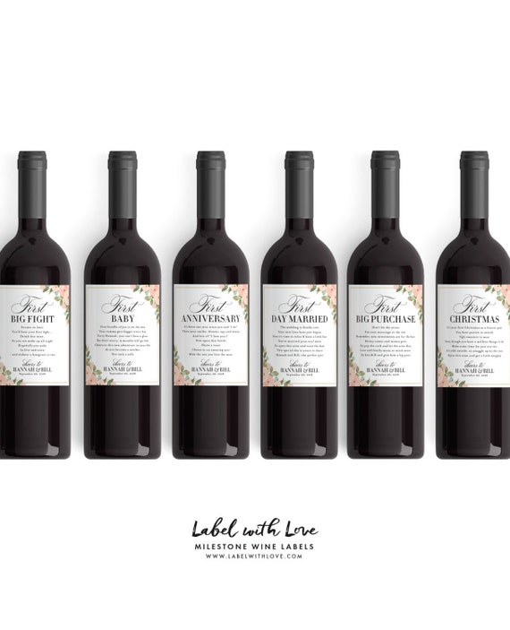 Wedding Milestone Wine Labels A Year Of Firsts Wine: The Perfect Wedding Gift Wedding Milestone Wine Labels