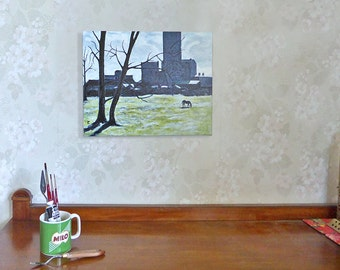 Black Horse painting 'A Frosty Morning', New Zealand landscape, original canvas art, silhouette, trees, old factory, 12 x 16, free shipping