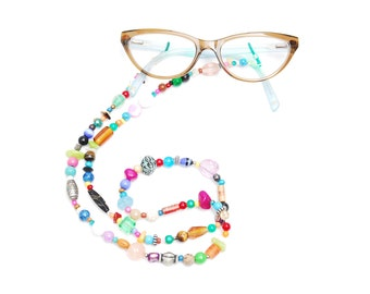 RandomJane glasses chain colorful beaded hippie boho random style summer accessory for eye glasses and sun glasses made in Vienna