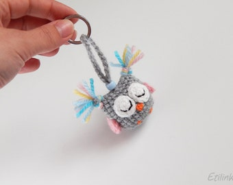 Owl gifts. Sleeping owl ornament. Stuffed owl keychain. Cute sleepy baby owl. Crochet owl charm Gift for little one or grown ups Owl keyring