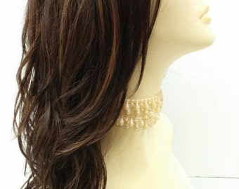 Long 18 inch Dark Brown with Copper Highlights Wavy Wig with Premium Heat Resistant Fiber. [30-176-Monday-4/27]