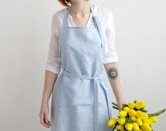FREE SHIPPING Soft light-blue linen apron, soft linen apron, blue apron