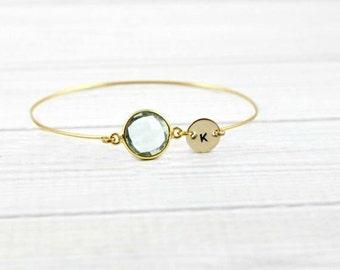 Aquamarine Bracelet, Birthstone Bracelet, Initial Bracelet, Gold Bangle,Personalized Bracelet,Jewelry Gifts,March Birthstone,Initial Jewelry