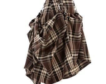 Last one, Size 4,  Brown Plaid Tartan  SteamPunk Victorian Bustle Custom Made  Skirt