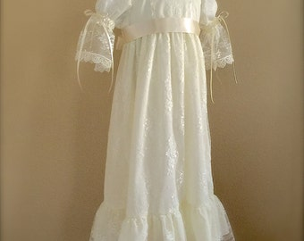 Lace Dress Sister Matching Vintage Inspired  Girl Special Occasion Flower Girl with silk ribbon Sash