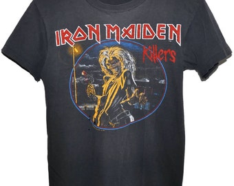 Vintage 80s 1981 IRON MAIDEN KILLERS Heavy Metal Rock Concert Tour T Shirt Very Rare