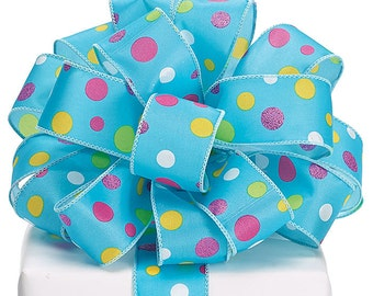Ribbon P0LKA DOT BLUE satin multi-color  Wired edge.- WREATHS, Spring Garlands, Hair Bow, Floral ,Packaging Supply, Lilly