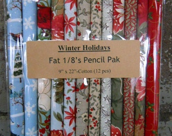 Fabric: Fat Eighth Pencil Pak- WINTER HOLIDAY/ 12- 9x22 inch pieces
