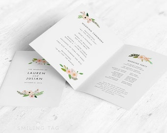 Folded Wedding Program in Letter or A4 Printable- Botanical Floral Wedding Program - Ready to Print PDF- Letter or A4 Size (Item code: P270)