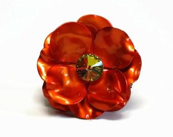 Large Paprika Orange Enamel Rose Brooch with AB Crystal Rivoli Stone Center in Flower Petals - Vintage 50's Figural Costume Jewelry
