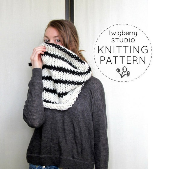 Knit Cowl PATTERN Knitting Black and White Striped Cowl Pattern Chunky Knit S...