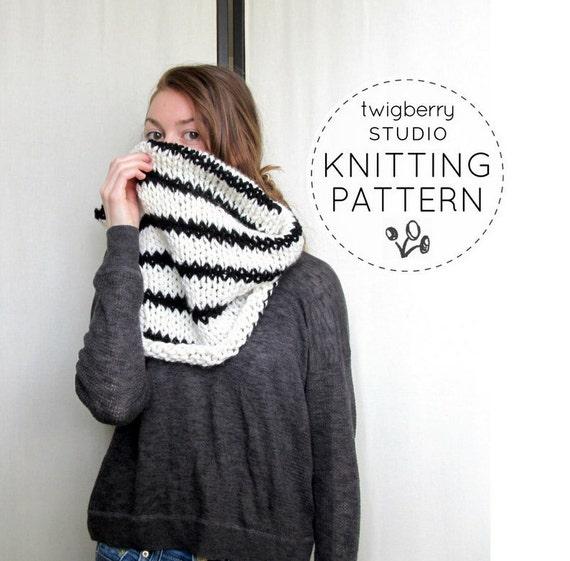Striped Infinity Scarf Knitting Pattern : Knit Cowl PATTERN Knitting Black and White Striped Cowl Pattern Chunky Knit S...