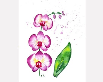 Orchid painting Original watercolor art Flower painting Purple violet fuchsia pink Tropical wall art Floral plant spring home decor