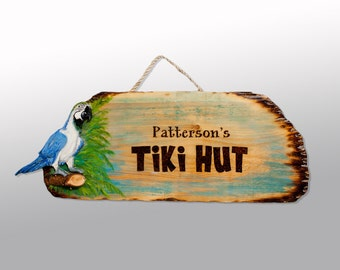 Pyrography Tiki Bar & Pool Signs - Custom Resin Coated Signs with Palm Tree, Parrot, Tiki or Buyer's choice Inlay