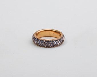 Ceylon Sapphire Eternity Ring Band, Saphire Ring, Sapphire Infinity Ring, 18k Yellow Gold, Anniversary Band for Women, Saphire Wedding Band